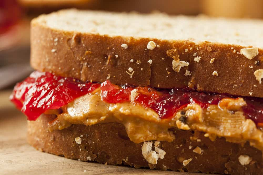 Peanut Butter Combined with Jelly Jam Sandwich